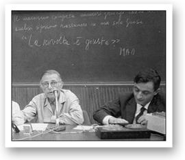 Gian Franco Minguzzi tiene una lezione con jean Paul Sartre